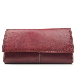Fossil Blood Red Leather Long Checkbook Wallet